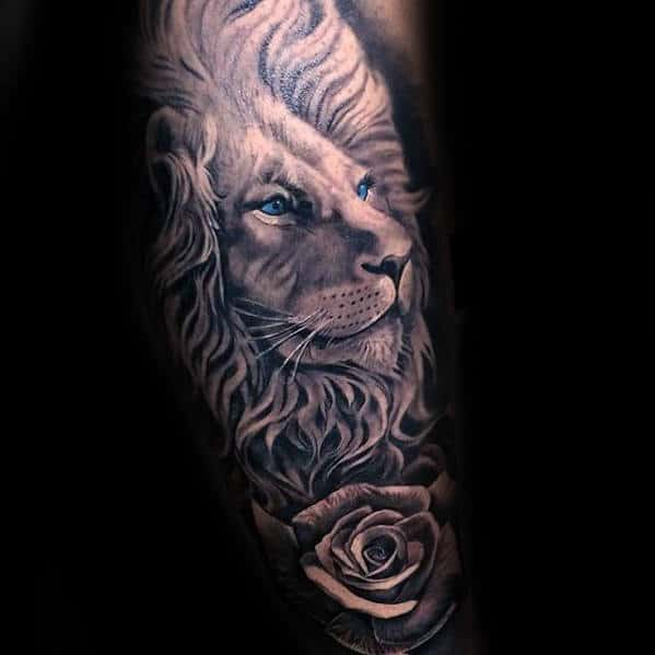 Lion With Rose Flower Guys Leg Sleeve Tattoo Designs