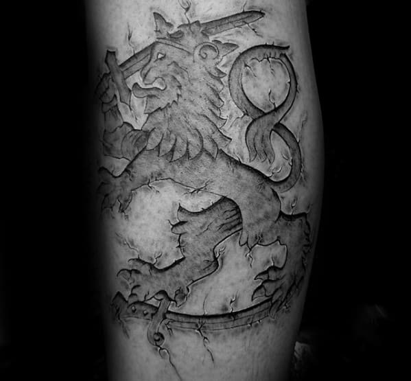 Lion With Sword Guys 3d Leg Calf Tattoo
