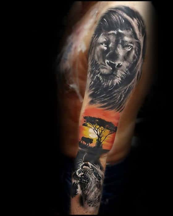Lions With Sunset Africa Safari Guys Arm Sleeve Tattoo