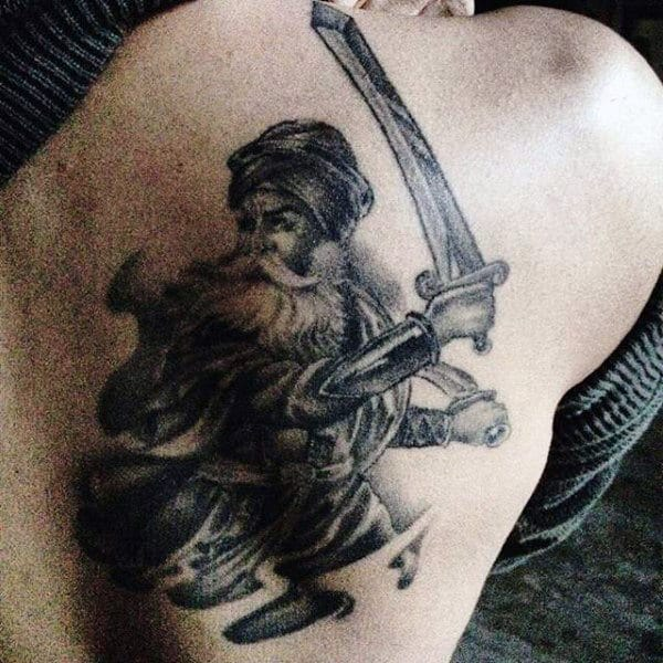 Live By The Sword Die By The Sword Tattoo For Guys On Back