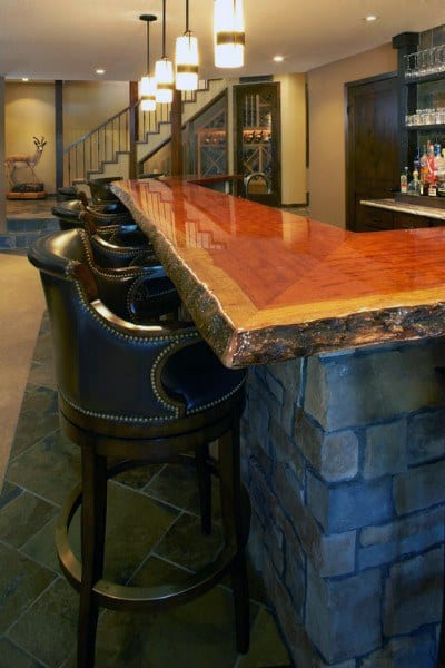 Live Edge Wood Slab Top Rustic Bar Ideas