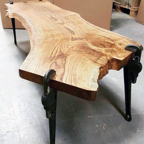 Live Edge Wood Table With Wrench Legs Diy Man Cave Ideas
