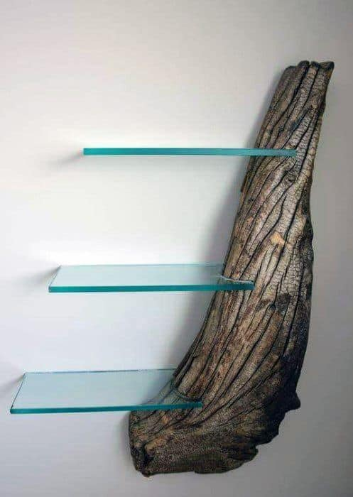 Live Edge Wood With Glass Shelves Bachelor Pad Decor