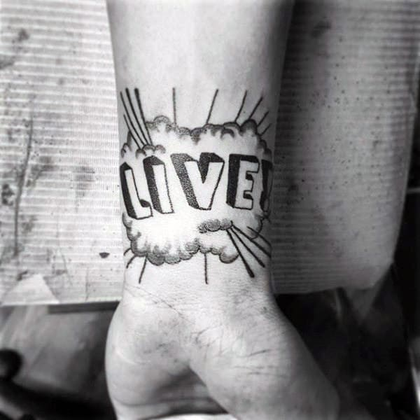 Live Pop Art Mens Wrist Tattoos