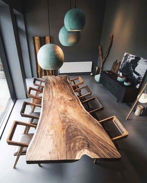 Live Slab Wood Table Rustic Dining Room Ideas