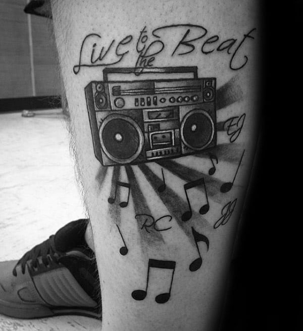 Live To The Beat Boombox Music Notes Lower Leg Tattoos For Men