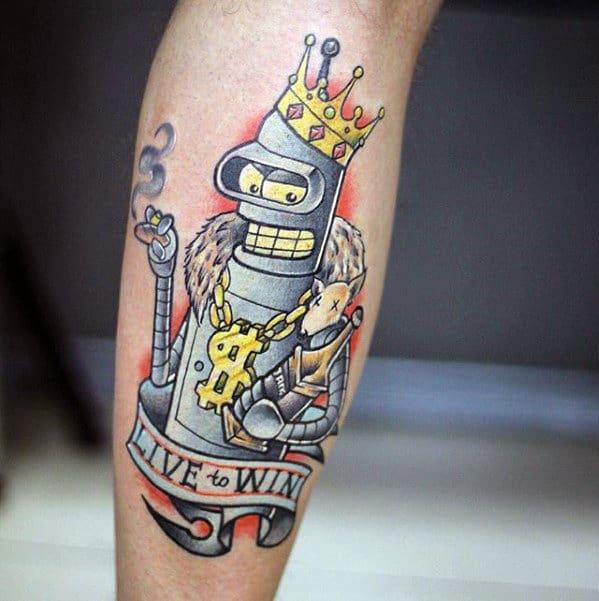 Live To Win Banner With Royal Bender Guys Futurama Leg Tattoo