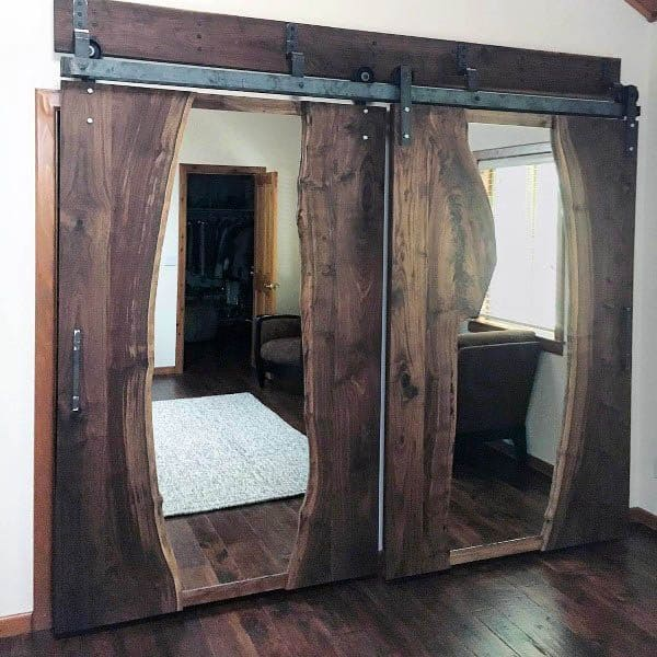 Live Wood Slab Ideas For Mirrored Closet Doors