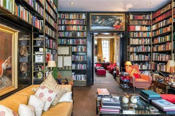 Living Room All Four Walls Floor To Ceiling Bookshelves Ideas