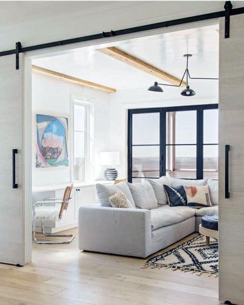 Living Room Barn Door Ideas