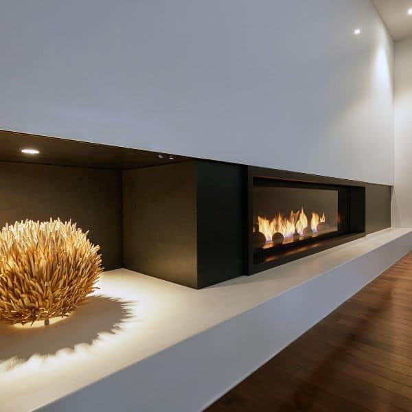 Living Room Black Paint And Concrete Ledge Gas Fireplace Designs