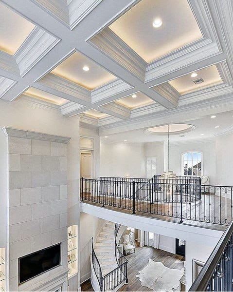 Living Room Coffered Vaulted Ceiling Crown Molding Lighting Cool Interior Ideas
