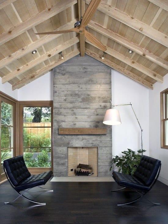 Living Room Concrete Fireplace Design Ideas