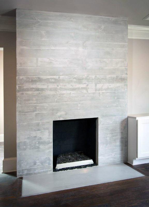 Living Room Concrete Fireplace Design