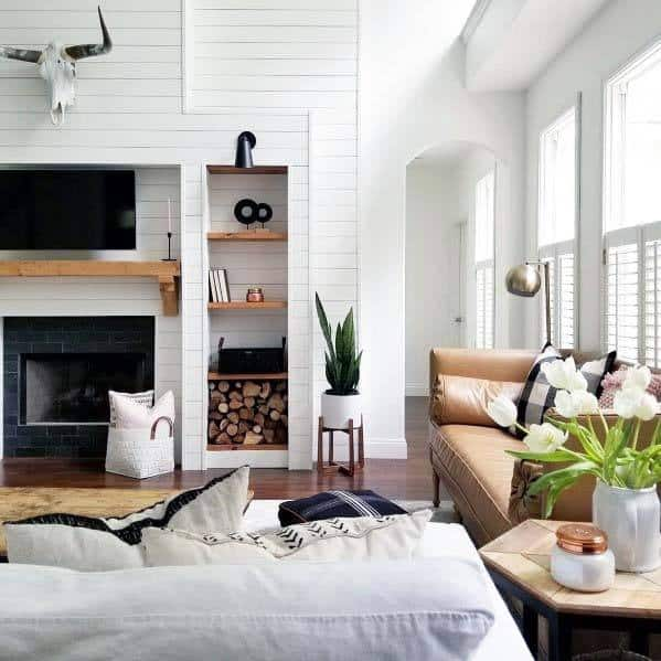 Living Room Fireplace Interior Designs Shiplap Wall