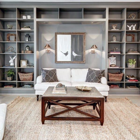 Living Room Floor To Ceiling Cool Built In Bookcases Painted Grey
