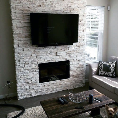 Living Room Good Ideas For Stacked Stone Fireplace