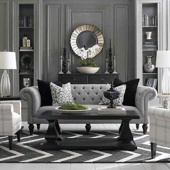 Living Room Grey Built In Bookcases