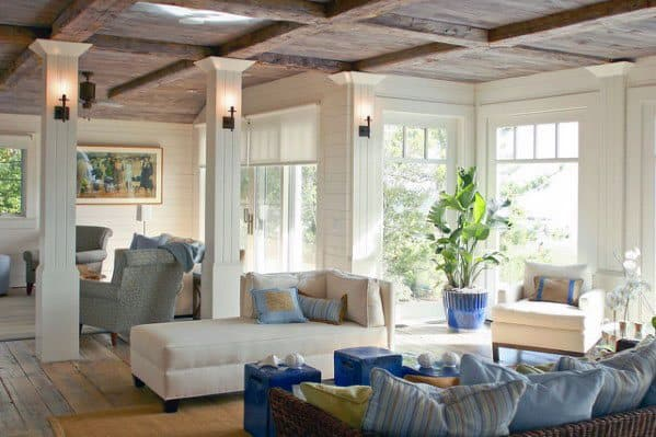 Living Room Home Interior Rustic Wood Coffered Ceiling