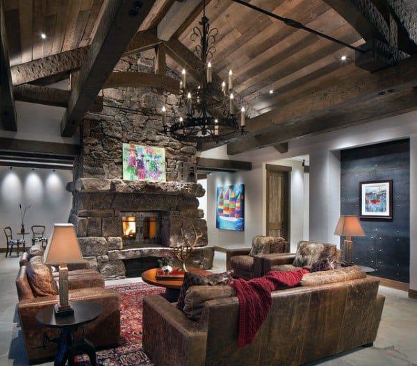 Rustic Luxury Living Room: Top 60 Best Rustic Living Room Ideas