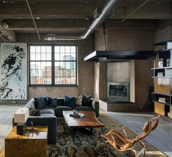 Living Room Industrial Interior Design
