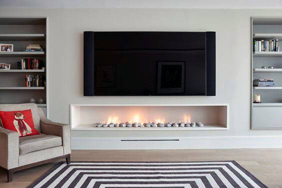 Living Room Interiors Superb Linear Fireplace Ideas