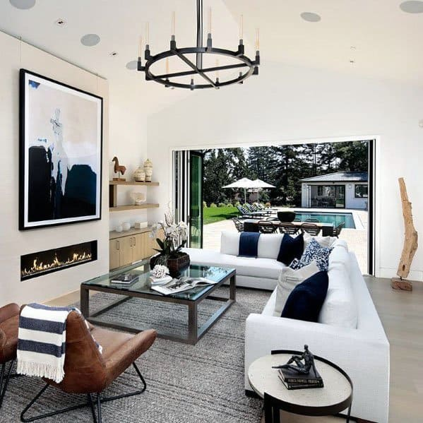 Living Room Linear Fireplace Designs