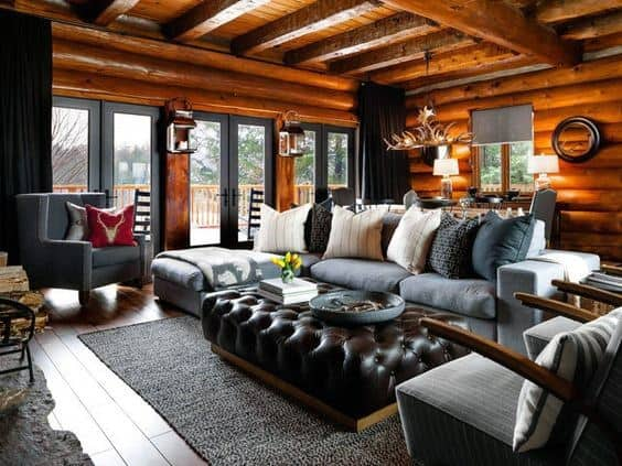 Living Room Log Cabin Interior Design