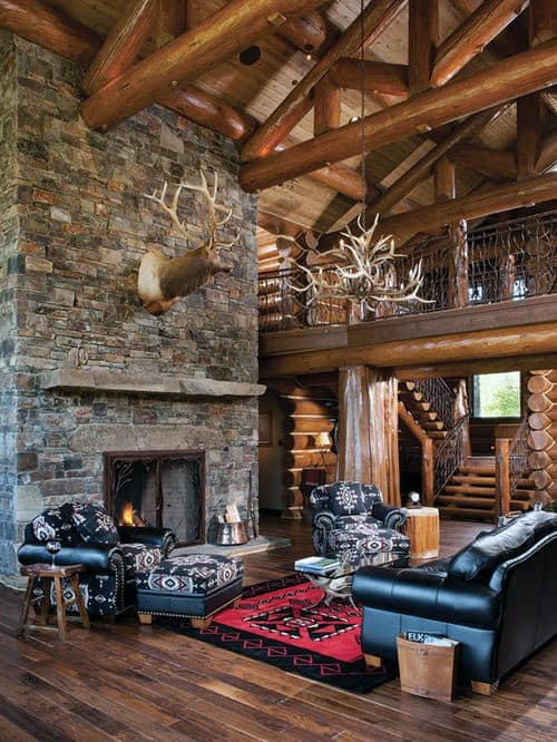 Top 70 best stone fireplace design ideas rustic rock interiors for Rustic cabin living room ideas