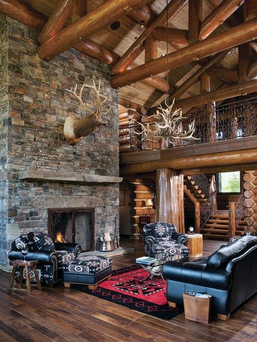 Living Room Log Cabin Stone Fireplace Design Inspiration