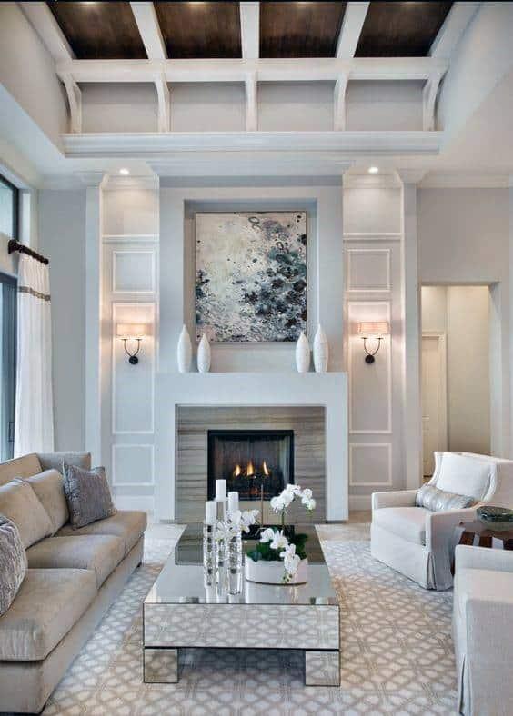 Living Room Luxury Fireplace Mantel Design