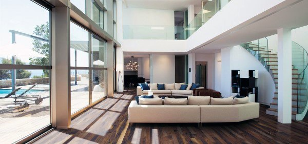 Living Room Modern Stairs Design Ideas