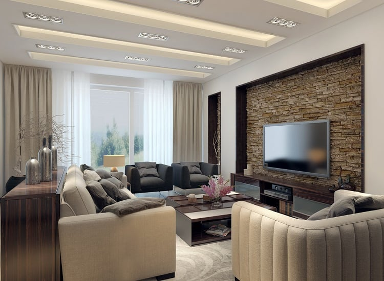 Living Room Modern Style Floating Ceiling