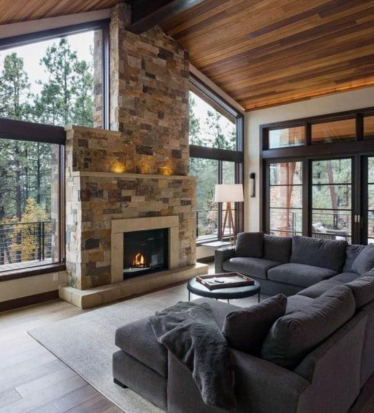 Basement Tv Room Ideas: Top 60 Best Wood Ceiling Ideas