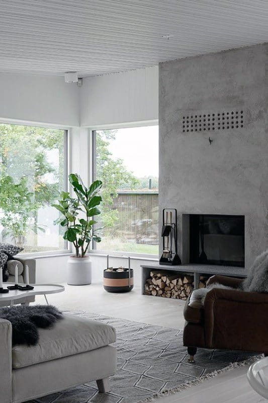 Living Room Simple Concrete Fireplace Design