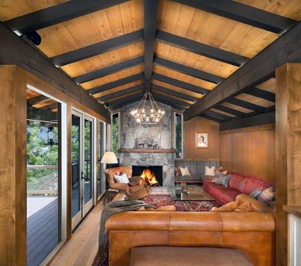 Living Room Stone Fireplace Design Ideas