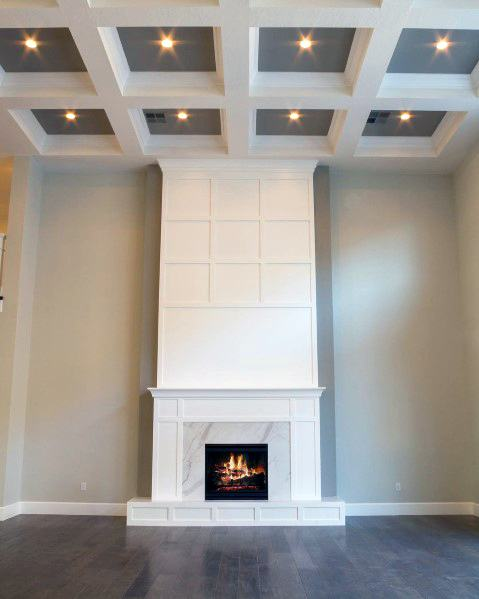 Living Room Tall Ceilings Coffered White And Black