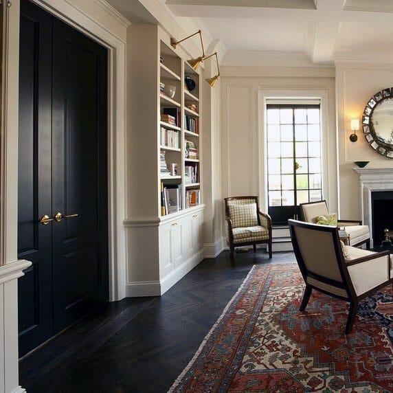 Living Room Traditional Floor To Ceiling Built In Bookcase Interior Design