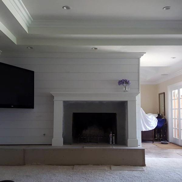 Living Room Trey Ceiling Shiplap Walls Home Crown Molding Ideas