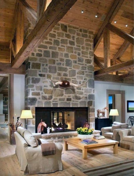 Living Room Vaulted Wood Rustic Ceiling Ideas With Stone Fireplace