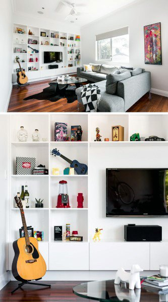 Living Room White Bookcase Unique Television Wall Designs