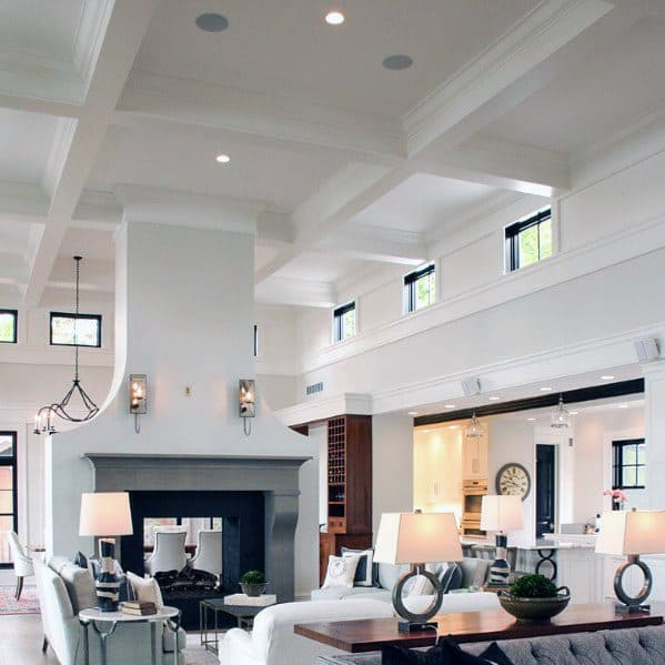 Living Room White Coffered Ceiling Design Idea Inspiration