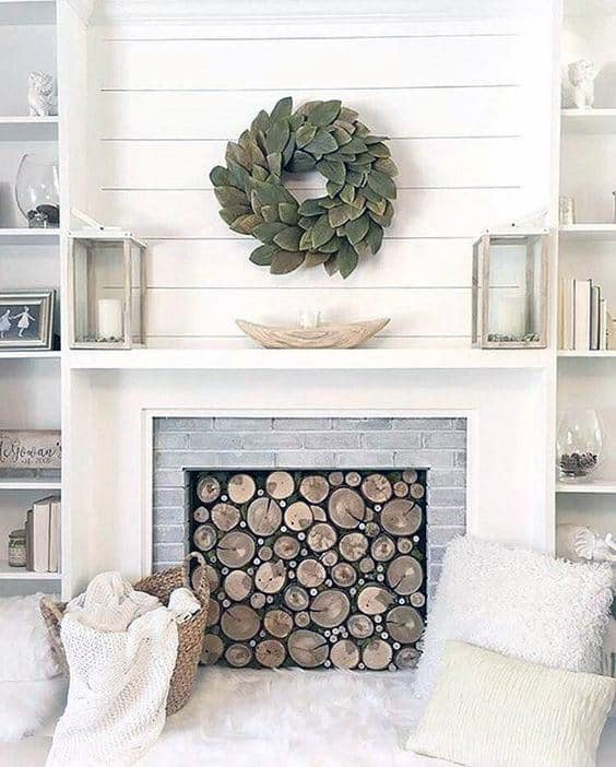 Living Room White Fireplace Mantel Design
