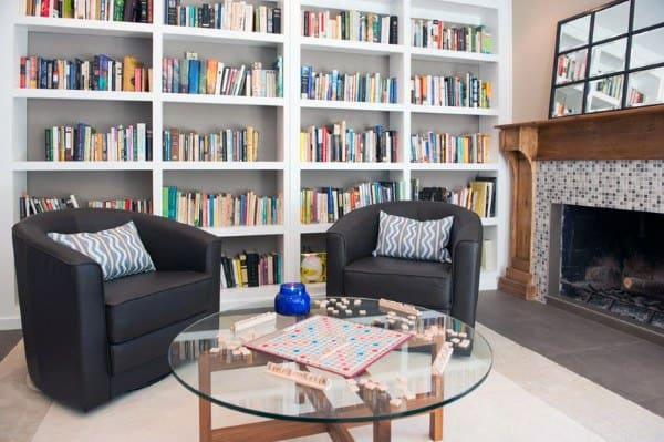 Living Room White Painted Bookshelf Ideas