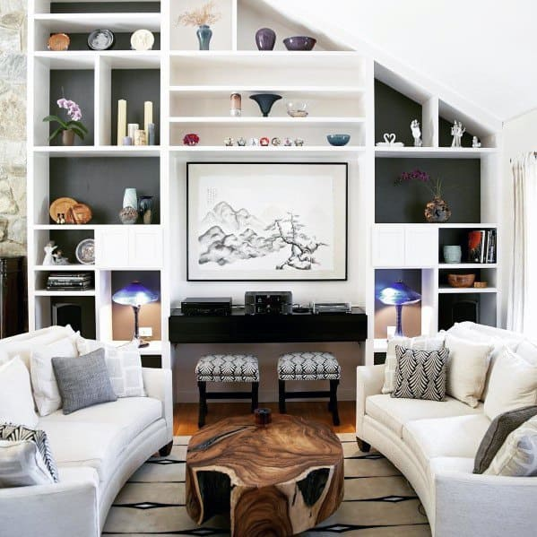 Living Room White Painted Built In Bookcase Design Inspiration