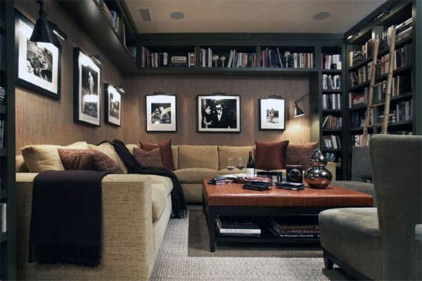 Living Room With Home Library Bookcases