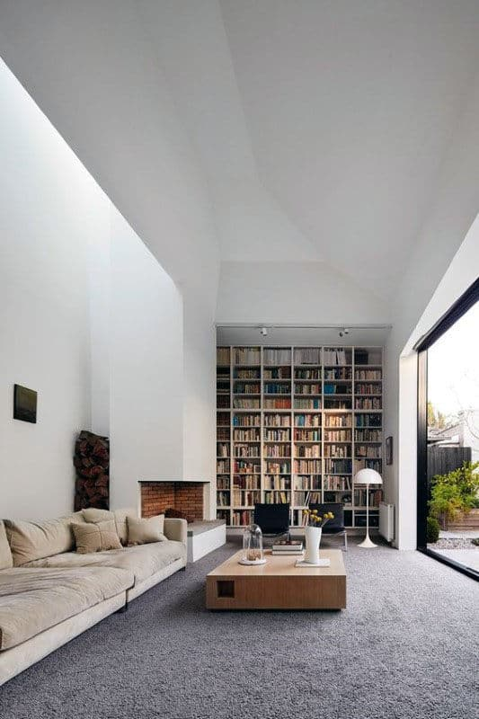 Living Room With Huge Home Library Bookcase