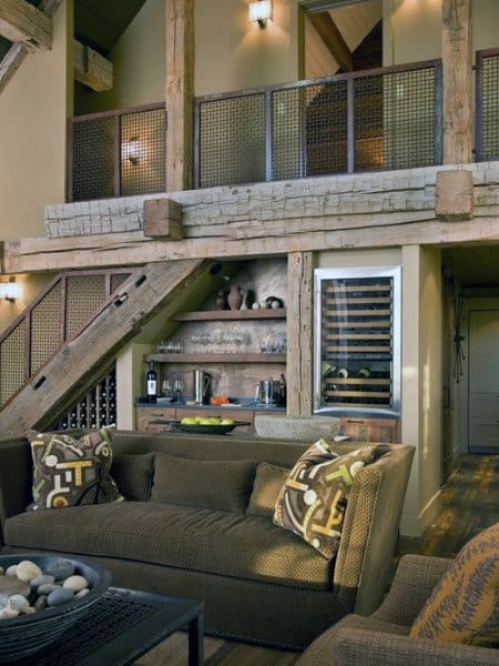 Living Room With Rustic Design