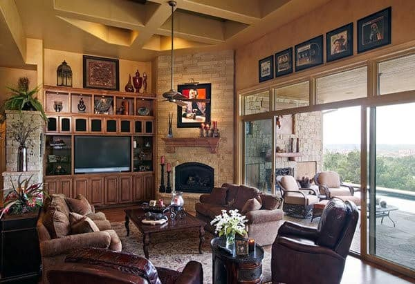Living Rooms Corner Fireplace Design