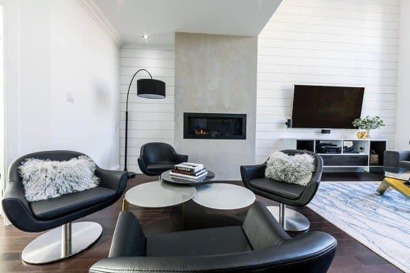 Living Rooms Shiplap Wall Interior Design